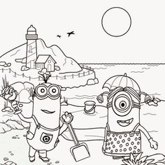 Free Clipart Drawing For Teens Seaside Holiday Fun Coloring Pictures Of Minions Beach Tropical Sands 800x800