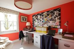 Eclectic Home Office by Turner Pocock, use a huge pin board to display traveled places with postcards, pictures, ticket stubs....