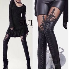 """Black Lace Up Corset Sexy Leggings Leggins OSFM The laces come with the leggings. You will have to lace them up! Color: Black. Material: Synthetic leather Size : only one regular size Length: about 88cm-(34.32"""") Waist: about 62-80cm-(24.18""""-31.2"""") Hip: about 80-106cm-(17.94""""-34.32"""")(1 inch=2.54cm) Thigh:40-56cm-(15.6-21.84"""") Leg opening: 22-34cm-(8.58-13.26"""").      AA Boutique Pants Leggings"""