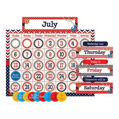 Add style and function to your classroom with this nautical themed calendar display. This set includes headers for each month as well as each day of the week. A