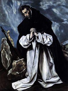 El Greco, St Dominic in Prayer, 1586-1590. Oil on canvas. 118 x 86 cm. Private Collection. Biografie: http://www.artsalonholland.nl/biografie-kunstenaars/el-greco-kunstschilder-manierisme