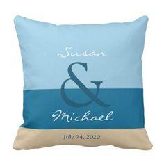 #Modern beach Wedding sea ocean monogram names Outdoor Pillow - #GroomGifts #Groom #Gifts Groom Gifts #Wedding #Groomideas