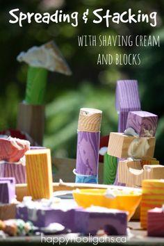 Teach spreading skills with foam blocks and shaving cream from Happy Hooligans