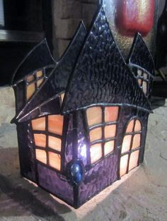 Stained Glass 3D Haunted House Candle Holder- by jbradstreet