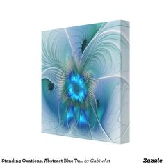 Standing Ovations, Abstract Blue Turquoise Fractal Canvas Print