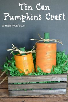 Tin Can Pumpkins Craft. A cute way to upcycle your soup, vegetable and fruit cans into a darling autumn craft. This Tin Halloween Crafts For Toddlers, Diy Halloween Costumes For Women, Diy Halloween Decorations, Toddler Crafts, Vintage Halloween, Halloween Fun, Fall Decorations, Pumpkin Topiary, Diy Pumpkin
