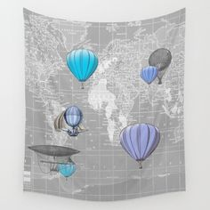 Hot Air Balloon map tapestry #nursery #Hotairballoon #map #tapestry