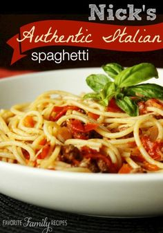 My husband's brother, Nick, spent 2 years in Italy and brought home a bunch of great recipes, including this one! Nick's Authentic Italian Spaghetti is delicious! Spaghetti Pomodoro Recipe, Italian Spaghetti Recipe, Italian Sausage Pasta, Italian Dinner Recipes, Spaghetti Recipes, Italian Dishes, Easy Dinner Recipes, Italian Meals, Spaghetti Dinner