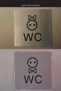 Great identity of restroom signage Toilet Signage, Bathroom Signage, Directional Signage, Wayfinding Signs, Signage Design, Logo Design, Wc Icon, Wc Logo, Toilet Icon