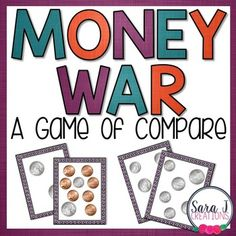 Money War Game Money War Game Playing the card game war is a fun way for students to practice comparing numbers. In this version students must count coins first to compare the numbers. When it is a game it makes practicing counting money just a little bit Counting Money Games, Money Activities, Counting Coins, Money Games For Kids, Money Math Games, Primary Activities, Classroom Freebies, Math Classroom, Kindergarten Math