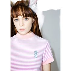 Lazy Oaf Esther Love Oaf Smoking Bunny Shirt ($48) ❤ liked on Polyvore featuring tops, t-shirts, crop t shirt, pink shirts, mock neck t shirt, pastel pink shirt and pink striped shirt