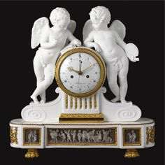 A Louis XVI ormolu-mounted biscuit and white porcelain mantel clock circa 1780, the case possibly by Guerhard & Dihl, dial inscribed Schmit à Paris