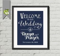 Nautical navy blue Welcome to our wedding sign, PRINTABLE, Large size available -Personalized wedding-Printable- DIY printable - Nautical