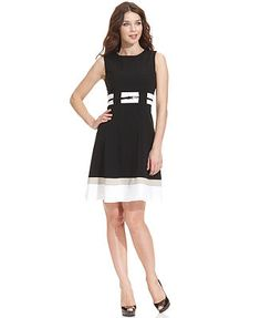 a4f84c0061f Calvin Klein Sleeveless Belted Striped Dress Women - Dresses - Macy s