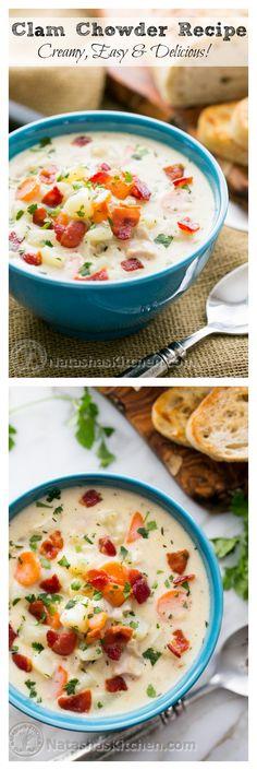 Favorite New England Style Clam Chowder Recipe. Serve with fresh crusty bread. Oh yum! @NatashasKitchen