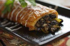 Black bean, mushroom and cheese enchiladas
