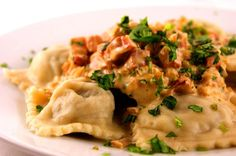 Mushroom Ravioli with Pancetta and Parmesan Sauce