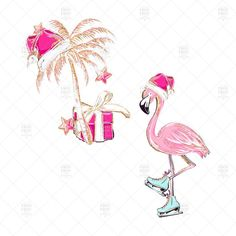 Tropical Christmas, Coastal Christmas, Pink Christmas, Christmas Signs, Christmas Cards, Xmas, Christmas Flamingo, Christmas Doodles, Christmas Trees