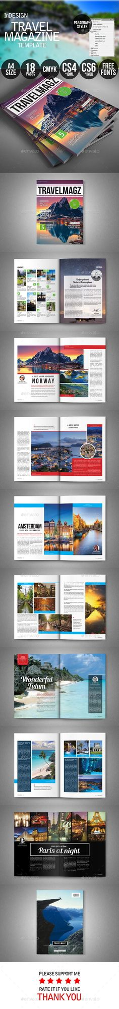 Travel #Magazine - Magazines Print #Templates Download here: https://graphicriver.net/item/travel-magazine/9721353?ref=alena994