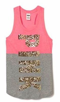 (NEW) Victoria's Secret PINK Bling Tank Top in Pink & Gray Size: Small #VictoriasSecret #TankCami