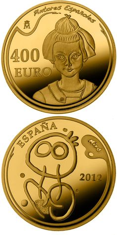 N♡T.400 euro: 5th Series Spanish Painters - Joan Miró.Country:Spain  Mintage year:2012 Issue date:17.10.2012 Face value:400 euro Diameter:38.00 mm Weight:27.00 g Alloy:Gold Quality:Proof Mintage:3,000 pc proof Issue price:1.520 euro
