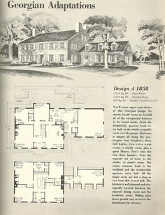 images about Vintage House Plans  Just for Fun on Pinterest    Vintage House Plans  Georgian