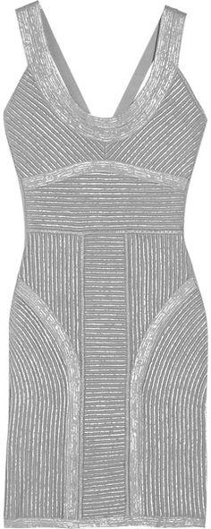 Hervè Lèger Metallic-Finish Bandage Dress