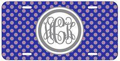 Personalized Monogrammed Polka Dot Blue Grey Vine License Plate Auto Tag Top Craft Case http://www.amazon.com/dp/B00OMQDI4I/ref=cm_sw_r_pi_dp_60otub16VQRR1
