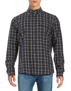 Black Brown 1826 Plaid Cotton Sportshirt Men's Moonstone X-Large