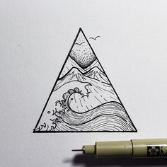 Greyscale water triangle tattoo