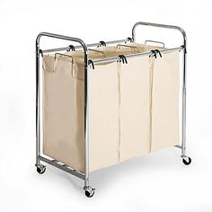 Seville Classics' Heavy Duty Laundry Sorter Hamper Cart allows you to easily sort your clothes with 3 roomy compartments that hold up to 2.0 cu. ft. of laundry each. When it's time to do a load, simply unlock the wheels and roll to your laundry room.
