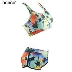 INGAGA 2016 Sexy Bikinis Set Swimwear Women Swimsuits biquini Printing Shorts Straight Beachwear Swim Bathing Suits