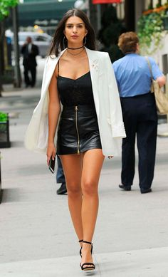 white blazer + black tank top + leather skirt + sandals