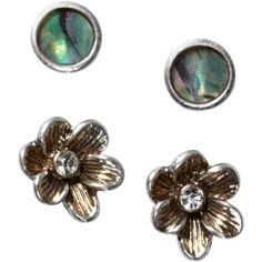 Fossil Earrings Set, Abalone And Flower Stud Earrings Set