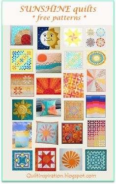 Free pattern day:  Sun and solstice quilts.   January 2016 at Quilt Inspiration.