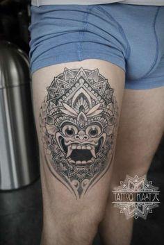 dotwork - barong - indonesia - tattoo - mandala