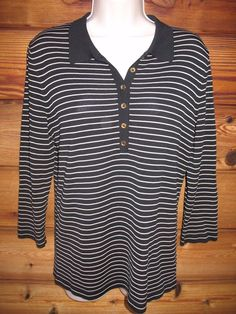 f6d00372bf607 Jones New York M Nautical 3 4 Sleeve Striped Knit Top Lightweight Sweater  NEW