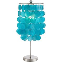 Universal Lighting and Decor Margaux Teal Shell Shade Accent Lamp ($50) ❤ liked on Polyvore featuring home, lighting, table lamps, blue, teal blue lamps, blue shade, blue shades, metal shade and blue lights