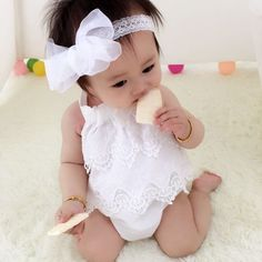 26a036407153 Newborn Clothing 2016 Baby Girl Cute Bodysuits Lace Outfits