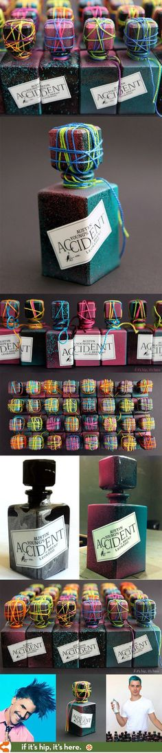 Austin Young's art perfume, Accident, has each bottle individually and uniquely packaged, numbered and signed. Great idea for a handmade business