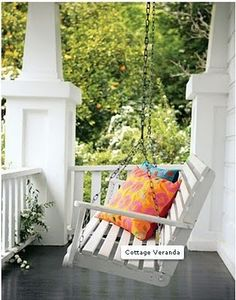 white porch swing - front porch on right side Outdoor Spaces, Outdoor Living, Outdoor Decor, Outdoor Fabric, White Porch, Balcony Design, Balcony Ideas, Decks And Porches, Front Porches