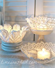 TIMEWASHED: Tutorials   doily bowls and candle holders