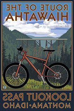 Regis, Montana - Route of the Hiawatha Mountain Bike Scene - Lantern Press Artwork Giclee Art Print, Gallery Framed, Black Wood), Multi Wall Art Prints, Canvas Prints, Poster Prints, Modern Photography, Stock Art, Border Print, Travel Posters, Mountain Biking, Vintage Posters
