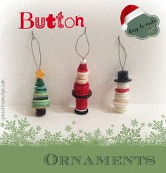 Easy Christmas Crafts: #8 Button Ornaments - Speech Room Style