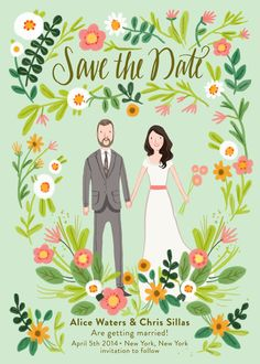 Custom Illustrated Save the Date Card Digital by kathrynselbert