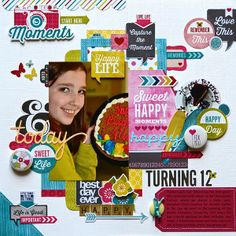 Remember the Good Times: Turning 12 using @Echo Brooks Park Paper Here & Now designed by Lisa Swift using @My Creative Scrapbook September creative kit.