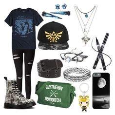 """Untitled #17"" by karmaakbane on Polyvore featuring Miss Selfridge, Studio Ghibli, Dr. Martens and Nintendo"