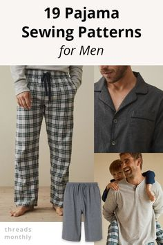 Check out these 19 pajama sewing patterns for men (5 are FREE!). They're the perfect DIY gift idea for christmas, fathers day, and birthdays. Definitely a useful and practical gift. Many of the patterns are also easy to make - ideal for beginners looking for simple sewing projects. Mens Sewing Patterns, Sewing Men, Free Sewing, Clothing Patterns, Pattern Sewing, Sewing Clothes, Sewing Tutorials, Diy Clothes, Sewing Ideas