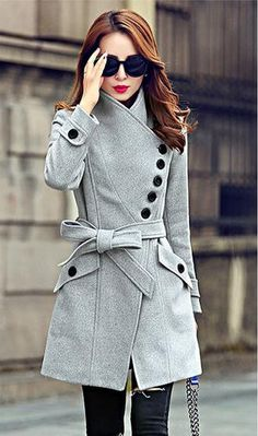 This coat with belt and button design is very fashion,which can make you look much cooler and slim design can make your figure look much hot,get one you like. Color:Red, Gray Size:M, L, XL, 2XL Clothe