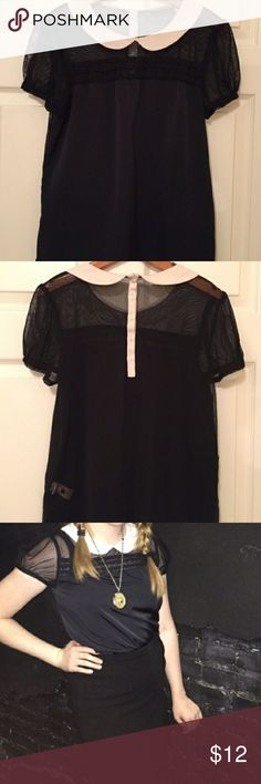 (2 for $15) Peter Pan collar top - Black soft material  - No flaws - Mesh detail around collar - Brand is Vera Wang   (ASK ME TO BUNDLE THIS WITH ANOTHER ITEM FOR $15) Urban Outfitters Tops